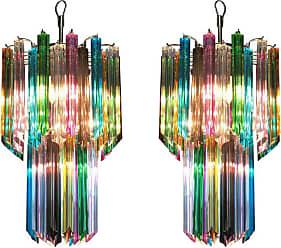 VENINI Pair Of Italian Chandelier Multi-color Venini Style, Murano