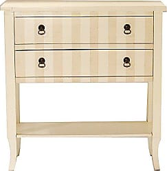 Heather Ann Creations Classic Handcrafted Wood Console, 33 x 13 x 32, Beige/Crème Stripe