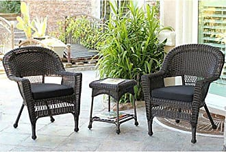 Jeco W00201_2-CES017 3 Piece Wicker End Table Set with with Black Chair Cushion, Espresso