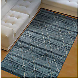 Home City Inc. Superior Cullen Collection Area Rug, 10mm Pile Height with Jute Backing, Fashionable and Affordable Rugs, Sketched Windowpane Pattern over Watercolor Stripes - 5 x 8 Rug, Blue and Beige