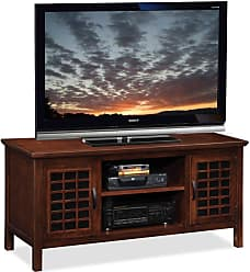 Leick Home Riley Holliday 50 in. TV Console with Grid Black Glass Doors - Chocolate Cherry - 81170