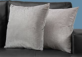 Monarch Specialties I 9307 Diamond Velvet Decorative Pillow Throw 18 x 18 Silver