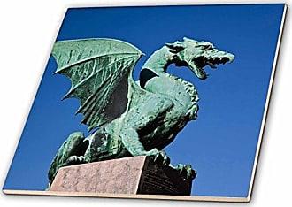 3D Rose 3dRose ct_82839_5 Dragon Statue, Dragon Bridge, Ljubljana, Slovenia-Eu38 Aje0030-Adam Jones-Glass Tile, 4-Inch