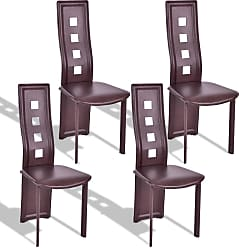 Costway Set of 4 Steel Frame High Back Armless Dining Chairs