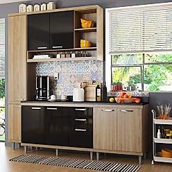 Multimóveis Cozinha Completa com Balcão com Tampo 5 Peças 8 Portas Sicília Multimóveis Argila/Preto