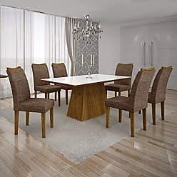 Leifer Conjunto Sala de Jantar Mesa Tampo MDF/Vidro Branco 6 Cadeiras Pampulha Leifer Canela/Linho Marrom