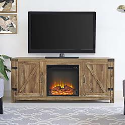 The Gray Barn Firebranch 58 Barn Door Fireplace TV Console - 58 x 16 x 25h (58 Barn Door Fireplace TV Stand - Barnwood)