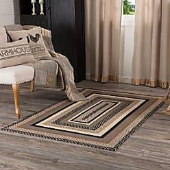 VHC Brands 45736 Farmhouse Flooring Miller Farm Charcoal Jute Half Circle Rug One Size Bleached White