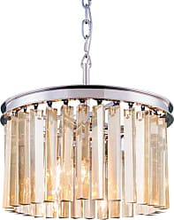 Urban Classic Sydney Collection 16 in. Pendant Silver-Shade Crystals Mocha Brown - 1208D16MB-SS/RC