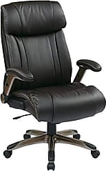 Office Star High Back Bonded Leather Executives Chair with Padded Flip Arms and Cocoa Coated Accents, Espresso