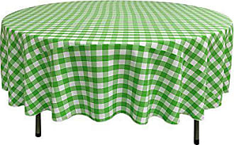 LA Linen Poly Checkered Round Tablecloth, 72-Inch, Lime/White