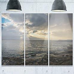 DESIGN ART Designart MT10203-3P Cloudy Australian Seashore In Sydney Large Seashore Metal Wall Art (3 Piece), Blue/White, 36x28