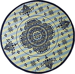 Home City Inc. Superior Round Beach Towel, 100% Premium Cotton, 5 Stylish Mandala Beach Towel Designs, Super Soft, Plush and Highly Absorbent Circle Beach Towels - Rangoli Blue and Yellow Striped Medallion