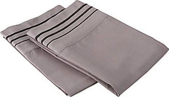 Superior Super Soft Light Weight, 100% Brushed Microfiber, Standard, Wrinkle Resistant, 2-Piece Pillowcase Set, Grey with Black 3-Line Embroidery Detail