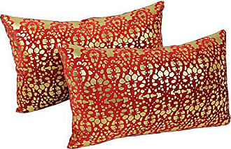 Blazing Needles Paisley Scaled Throw Pillow Set, 20-Inch by 12-Inch, Red Velvet/Gold Foil, Set of 2