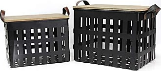 Stratton Home Decor Stratton Home Décor Stratton Home Decor Set of 2 Metal Wood Tops Storage Baskets, 18.50 W X 11.75 D X 13.25 H, Black, Leather