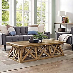 ModWay Modway Camp Modern Farmhouse Wood Coffee Table in Brown with X-Brace Base