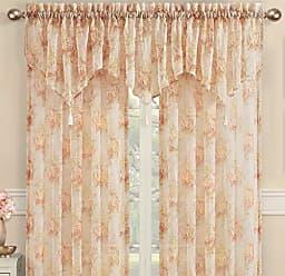 Five Queens Court Royal Court Eden Eliana Crushed Sheer Floral Print Ascot Window Valance Tassel Trim, Natural, 40x21