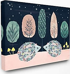 Stupell Industries The Stupell Home Décor Collection Holiday Colors Red and Green Trees Floral Porcupines at Night Stretched Canvas Wall Art, 16 x 20, Multi