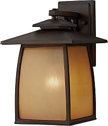 Feiss OL8502SBR Wright House Wall Lanterns in Sorrel Brown finish with Striated Ivory Glass