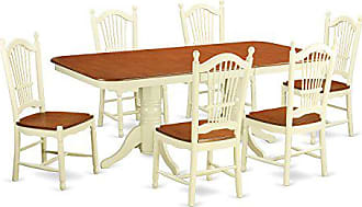 East West Furniture NADO7-WHI-W 7 Piece Kitchen Table and 6 Dining Room Chairs Set