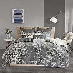 Urban Habitat 5823597790 Manhattan Reversible 7-Piece Printed Cotton Duvet Cover Set Charcoal Full/Queen