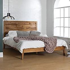 Walker Edison WE Furniture AZWQPLACA Queen Bed, Caramel