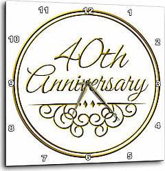 3D Rose InspirationzStore Occasions - 40th gold text for celebrating wedding anniversaries - 40 years married together - 13x13 Wall Clock (dpp_154482_2)
