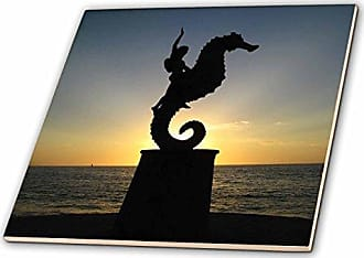 3D Rose 3dRose ct_18563_1 Puerto Vallarta Malecon Boy on Seahorse Statue Silhouetted Against Sunset Ceramic Tile, 4-Inch