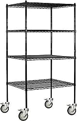 Salsbury Industries Mobile Wire Shelving Unit, 36-Inch Wide by 80-Inch High by 24-Inch Deep, Black