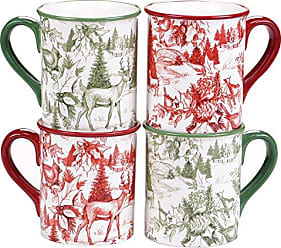 Certified International Winter Field Notes 16 oz. Toile Mugs, Set of 4, 2 Assorted Designs