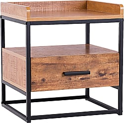 Costway 2-Tiers End Side Table with 1 Drawer