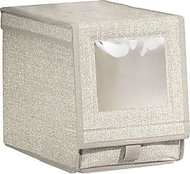 InterDesign Aldo Fabric Storage Box for Shoes, Boots and Pumps with a Clear Window and Pull Tab Closure for Closet Storage - Medium, Linen