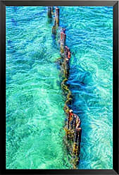 Buyartforless Buyartforless Framed Ocean Pylons II by Brandi Fitzgerald 12x18 Art Print Poster Ocean Pylons Tropical Crystal Clear Waters Made in The USA! Comes Ready to Hang