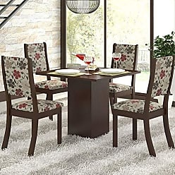 Viero Conjunto Sala de Jantar Mesa e 4 Cadeiras Caju Viero Choco/Passion