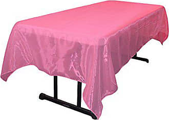 LA Linen Sheer Mirror Organza Rectangular Tablecloth 60 by 144 inch, Fuchsia