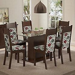 Madesa Conjunto Sala de Jantar Mesa 6 Cadeiras Atlanta Madesa Tabaco/Hibiscos