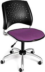 OFM Stars Series Armless Fabric Swivel Chair, Plum