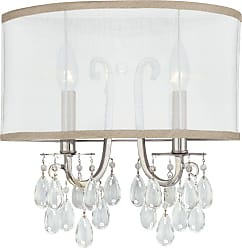 Crystorama 5622-CH Polished Chrome Wall Sconce Accented with Hand Cut Crystal and a Silk Shade