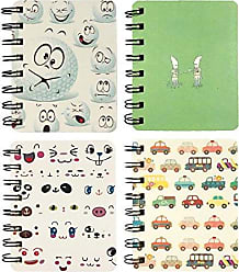 Wrapables Novelty Spiral Journals Stationery (Set of 4) Notebooks, Cars and Emoji