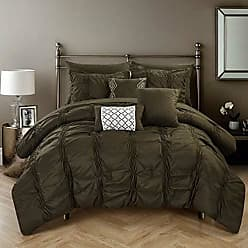 Chic Home 10 Piece Tori Pinch Pleated Bed in A Bag Comforter Sheets Set and Decorative Pillows, King, Brown