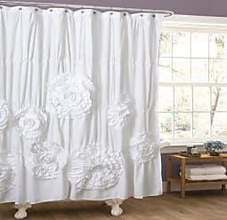 Lush Décor Serena Shower Curtain Ruffled Floral Shabby Chic Farmhouse Style Bathroom Decor x 72 White