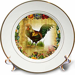 3D Rose 3dRose Image of Country Rooster on Flowered Old Postcard-Porcelain Plate, 8 (cp_224341_1)