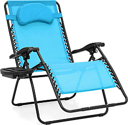 Best Choice Products Oversized Folding Zero Gravity Outdoor Reclining Lounge Patio Chair w/ Cup Holder - Light Blue