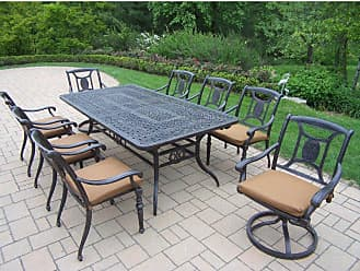 Oakland Living Outdoor Oakland Living Victoria Aluminum 9 Piece 84 x 46 in. Rectangular Patio Dining Set - 7809T-7813C6-7814S2-D54-4005BN-4101-19MC
