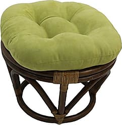 Blazing Needles Solid Microsuede Tufted Round Footstool Cushion, 18, Mojito Lime