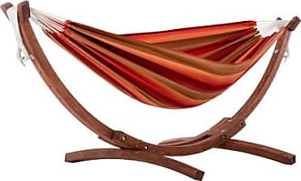Ashley Furniture Patio Double Sunbrella Hammock with Solid Pine Arc Stand, Sunset