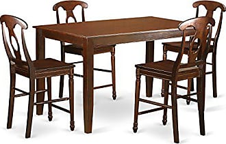East West Furniture DUKE5H-MAH-W 5 Piece Pub Table and 4 Chairs Set, Mahogany Finish