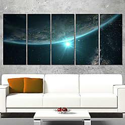 DESIGN ART Designart Sunrise in Earth from Space-Contemporary Landscape Canvas Art-60x28 5 Piece-PT10956-401, 60x28-5 Equal Panels
