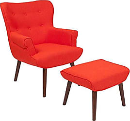 Flash Furniture Bayton Upholstered Wingback Chair with Ottoman in Orange Fabric